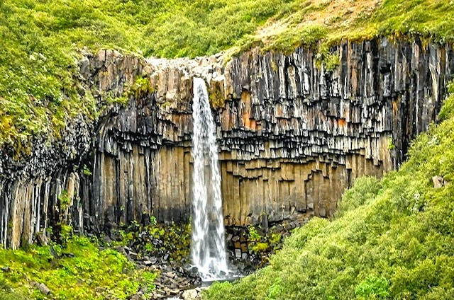 The black waterfall of Svartifoss in Iceland