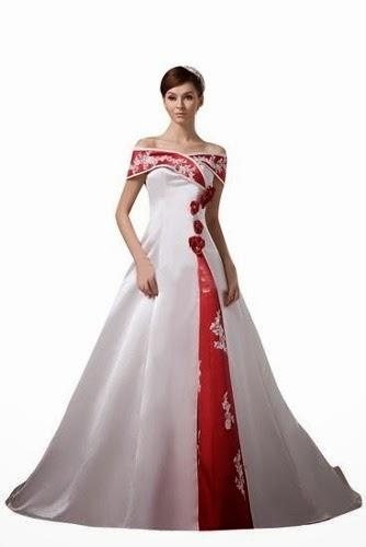 Sonar con vestido de novia rojo y blanco