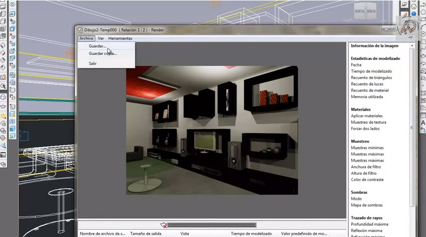 How To Render 3d Living Room Of The Plan Autocad 2013