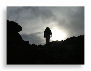 mountain, climber, sunset, shadow, hill, hiker