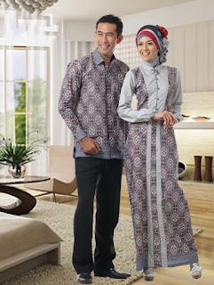 Sarimbit Batik Gamis Modern Silver Contoh Model Baju Batik Lebaran Terbaru