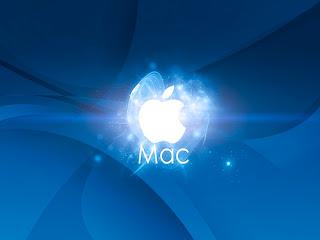 blue shining Apple Mac logo