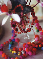 Necklaces made of handmade, silk beads by Cecile Boccara, a designer with a poet's imagination, who invents all kinds of jewelry from scraps of colored silk.