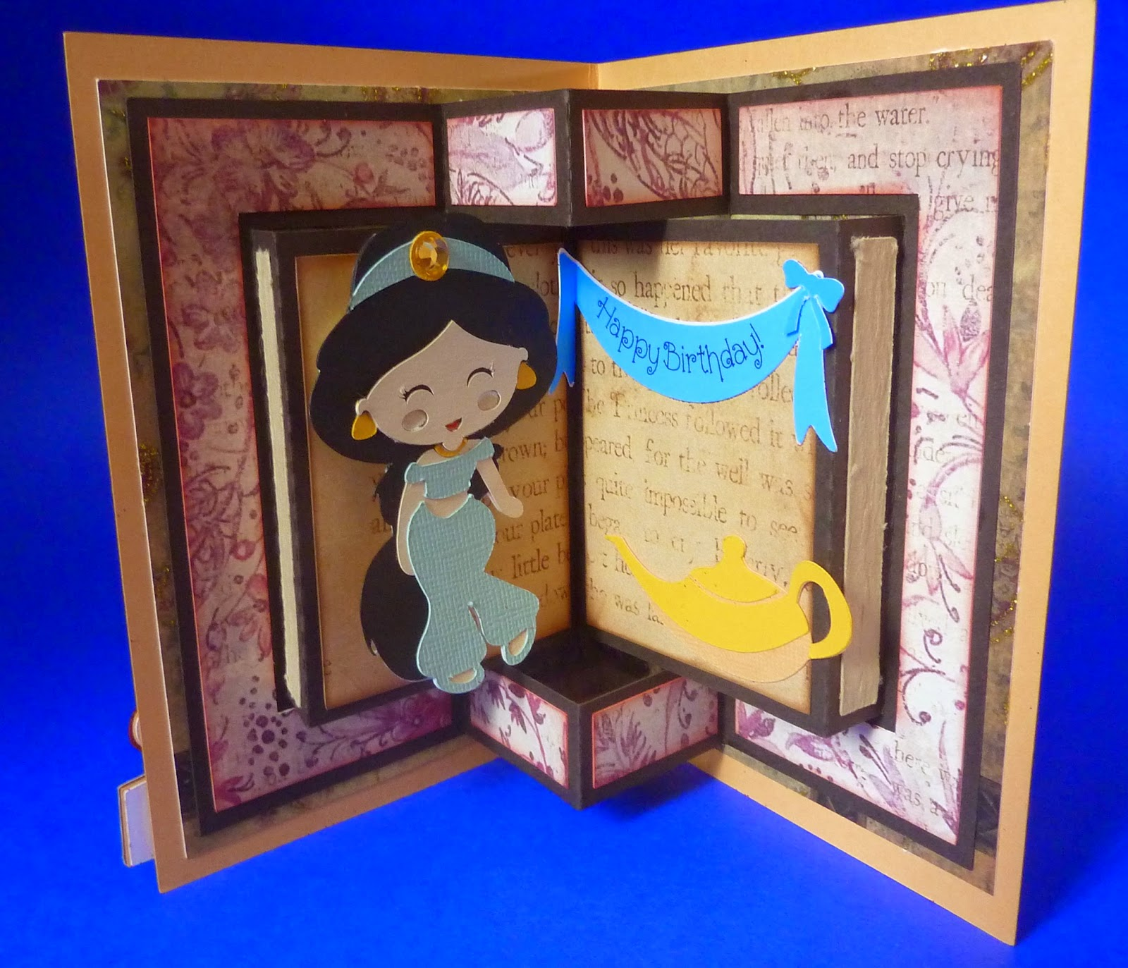 Craft Place Jasmine Birthday card with pop out book base – Princess Jasmine Birthday Card