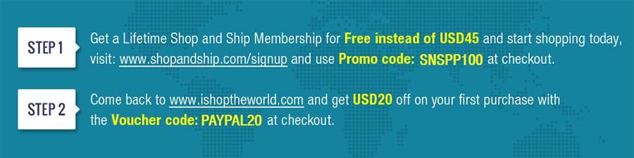 ShopAndShip Promo, SNS code 45$ off