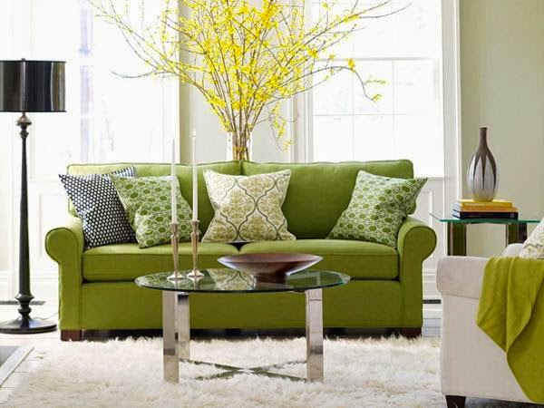 desain ruang tamu bernuansa hijau