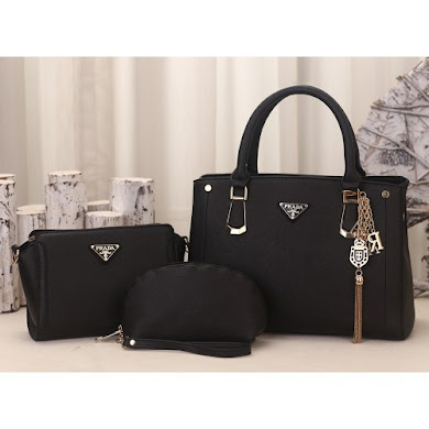 PRADA DESIGNER BAG (3 IN 1 SET) - BLACK