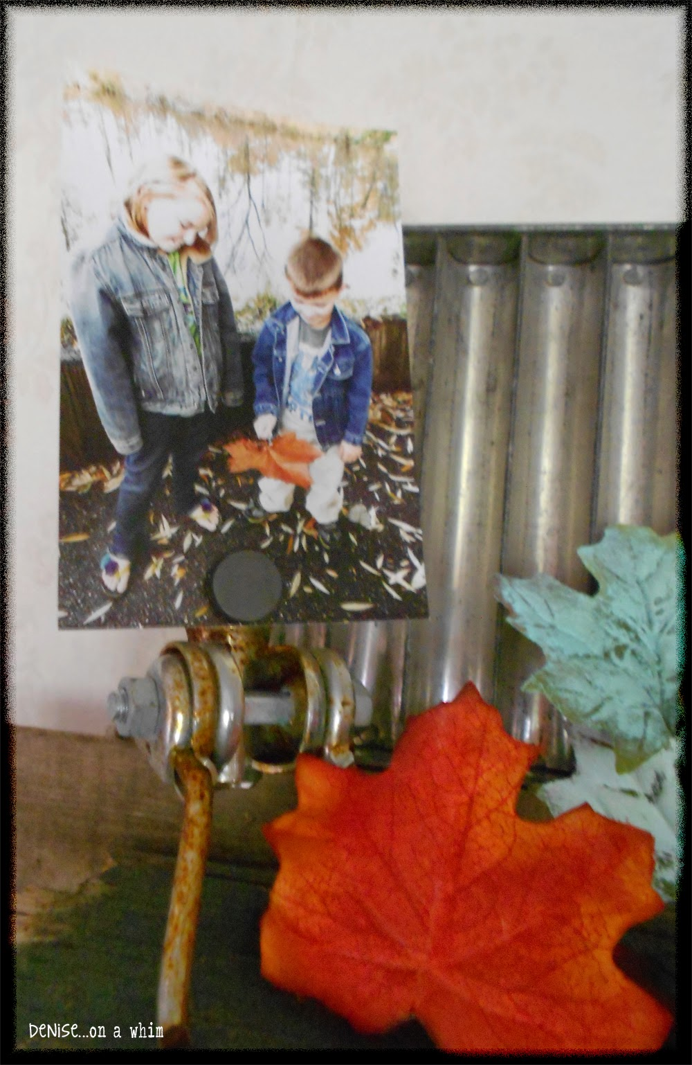 Displaying Family Photos in a Fall Vignette from Denise on a Whim