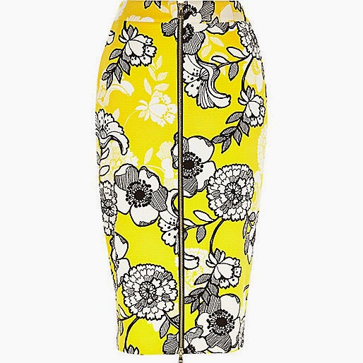 Yellow floral print skirt