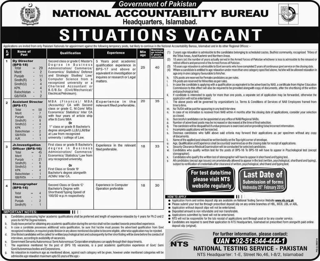 Latest National Accountability Bureau NAB Govt Jobs in Pakistan