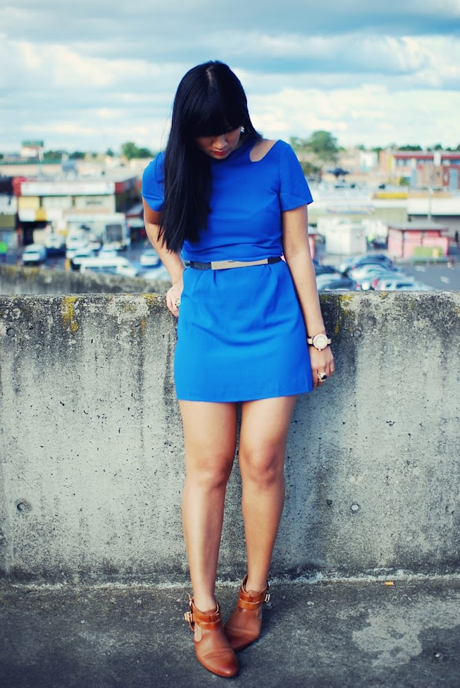 MeeMee Electric Cut Out Blue Dress