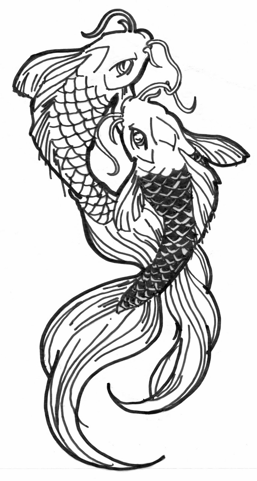 Line Drawing Koi Fish : Final design we will see