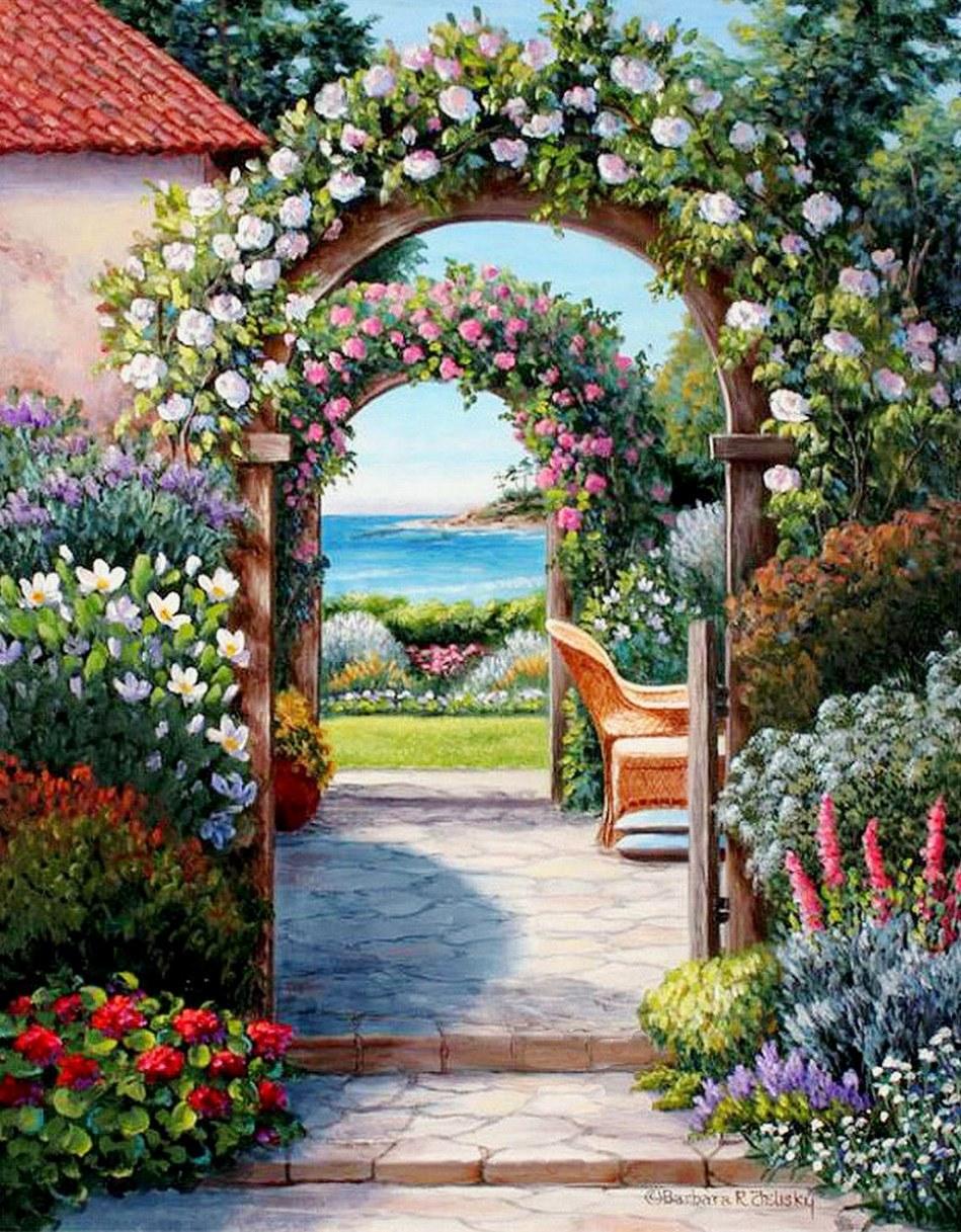 Cuadros modernos pinturas y dibujos cuadros de casas con for Jardines murales