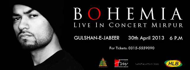 BOHEMIA the punjabi rapper performing live in Mirpur @ Gulshan-e-Jabeer on April 30th. 2013