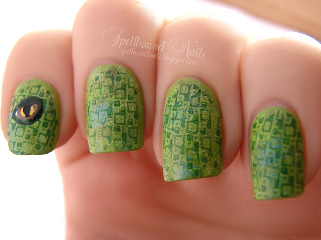 nails nailart nail art polish mani manicure Spellbound ABC Challenge I is for iguana animal scales green blue stamp stamped stamping plate Born Pretty Store eye reptile