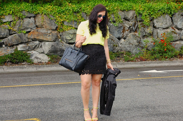 Neon green Forever 21 blouse, black pencil skirt, Mackage for Aritzia leather jacket, Celine Mini Luggage Bag, Prabal Gurung for Target heels.
