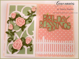 Rose trellis, birthday card front