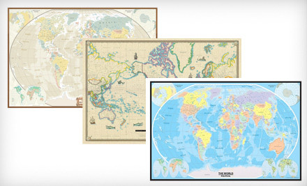 National groupon deals august 2nd 19 for a 24x36 swiftmaps gicle canvas wall map 6995 list price three options available gumiabroncs Choice Image