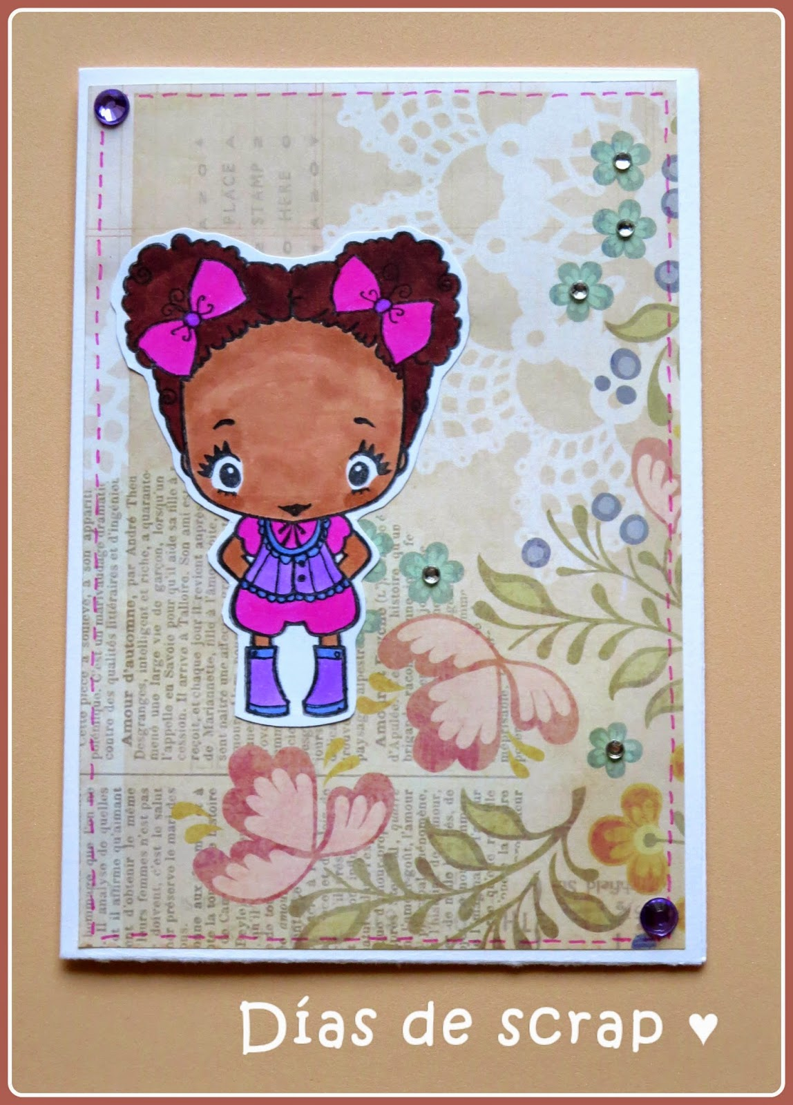 "scrap Postal reto FFF ""In stitches"""