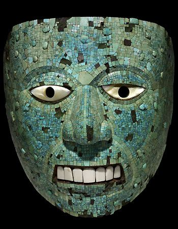 Aztec Mask Template An aztec turquoise-mosaic mask