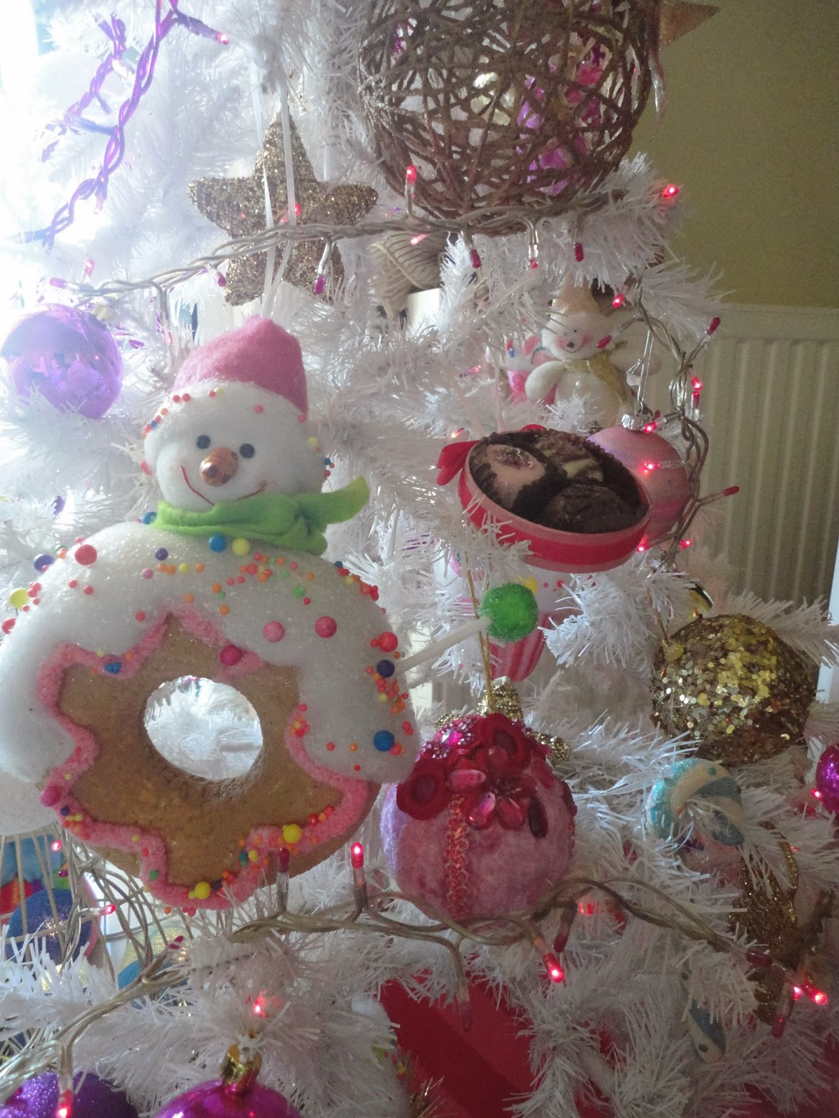 Large white christmas ornaments - So This Year My White Tree Is More Girly With Pink Purple Gold And White Christmas Ornaments Multicolored Cupcakes Candies Sweets Donuts Not Real And Pink