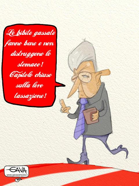 Gava satira vignette Cocacola tassazione Monti