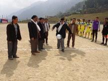 Darjeeling MLA Trilok Dewan 'kicking' the footbal tourney open on Friday
