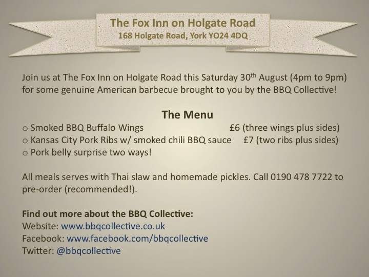 BBQ Collective menu for the Fox Inn on Holgate Road