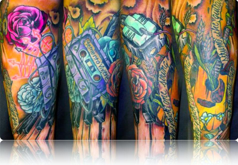 tattoos of music. music symbols tattoos.