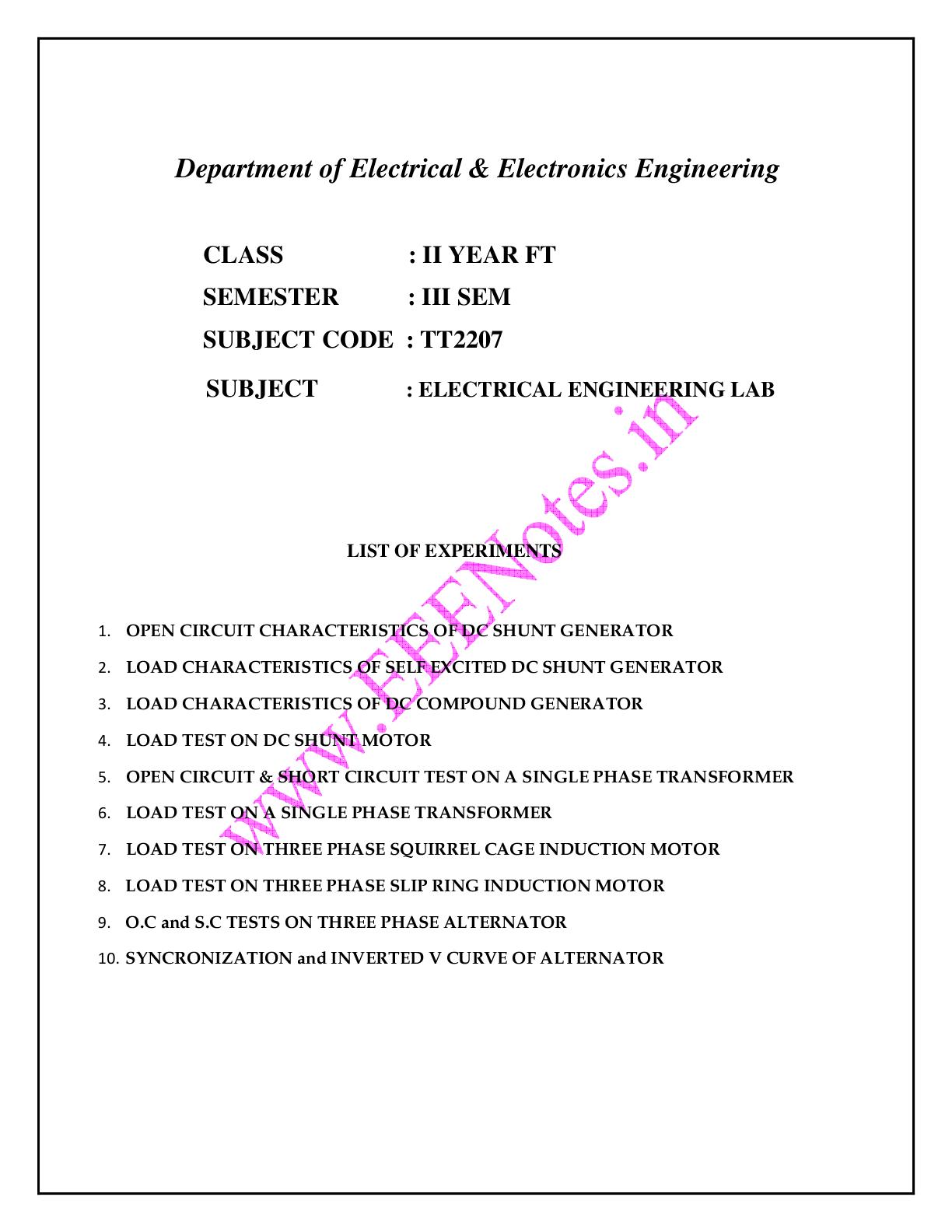electrical engineering lab manual ft 3rd semester vidyarthiplus rh vidyarthiplus in Complete Electrical Circuit Electric Circuit