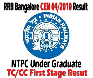 RRB Bangalore (BNC) NTPC Under Graduate CEN 04/2010 TC/CC First Stage Examination Result out and Second Stage Exam Admit Card Download
