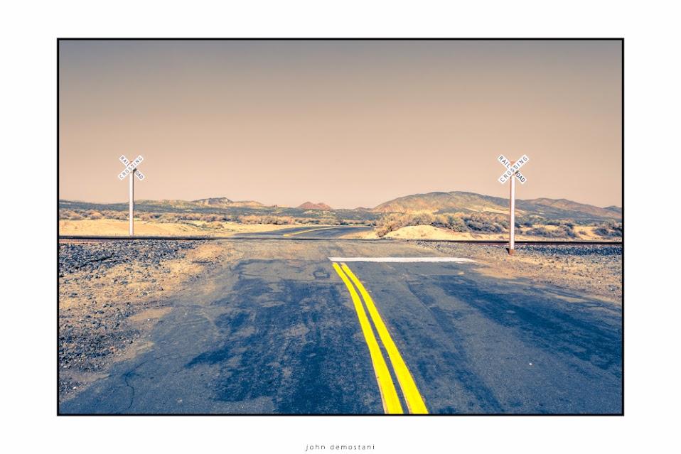 California, Desert, Landscape, Mountains, Nature, Roads, Sand, Sky, Yellow Stripes, Signs, Railroads