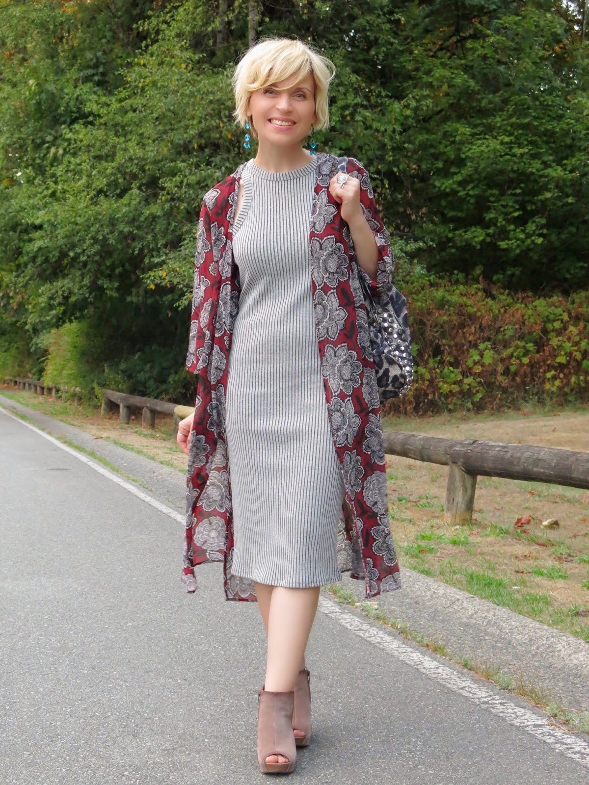 styling a minimalist grey tank dress with a floral kimono and leopard-print backpack