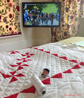 Red and White Pinwheel Quilt, 2013 Tour de France