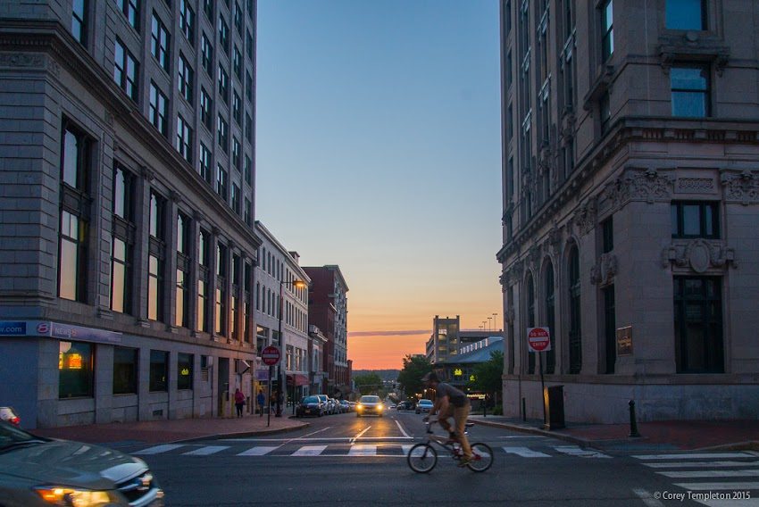 Congress and Preble Streets in Portland, Maine USA Sunset with Bicyclist July 2015 photo by Corey Templeton
