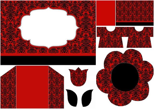 Damasco Negro en Fondo Rojo: Invitaciones para Imprimir Gratis.