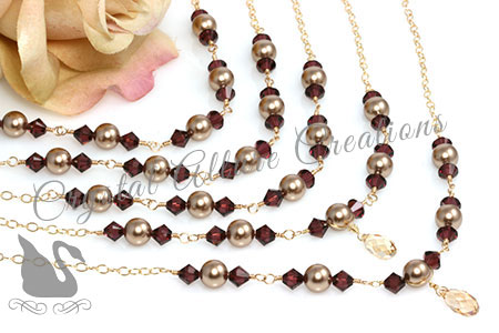 Lauren's Custom Crystal Pearl Bridesmaids Jewelry Necklaces