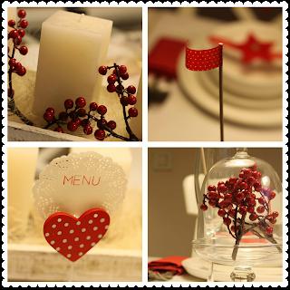 velas y decoración de mesa de navidad