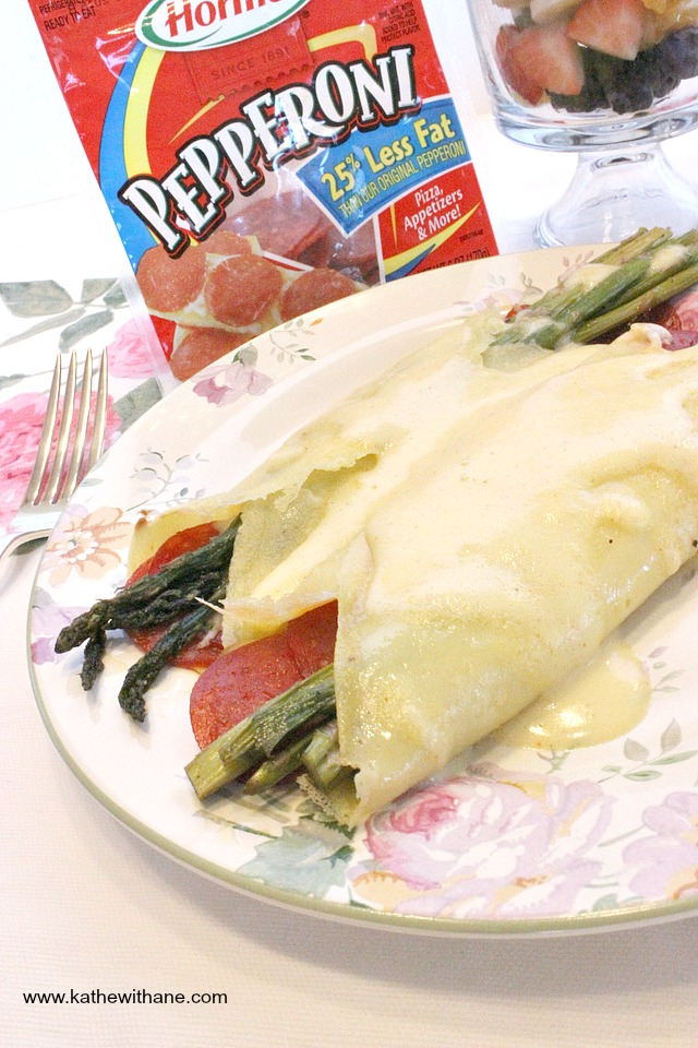 Pepperoni & Asparagus Crepes With Hormel Pepperoni