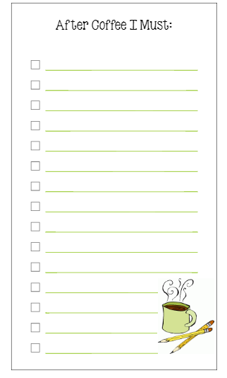 Personal Size To Do List: Coffee! [printable] - Planner Fun
