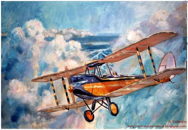 Pintando al óleo un biplano De Havilland  - estado actual