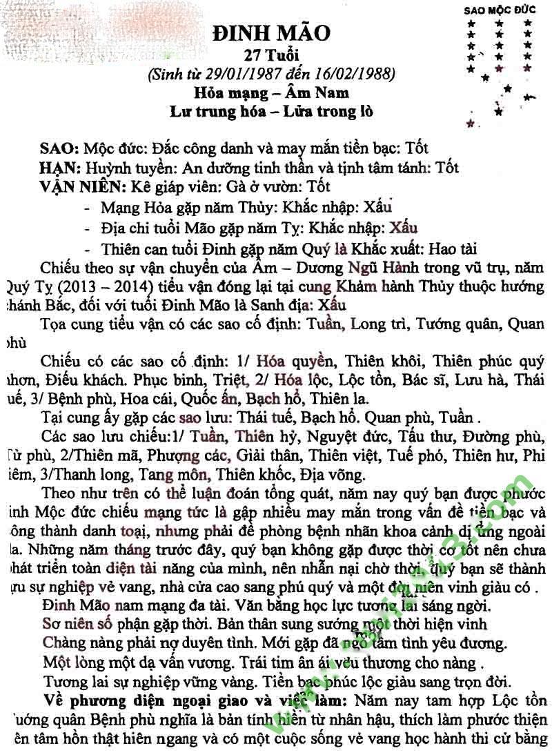Xem Boi Tuoi Dinh Mao Nu Nam 2013