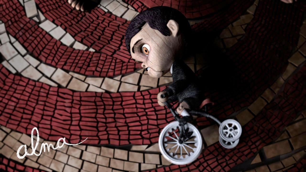 alma ruh 2009 kisa animasyon filminde oyuncak magazasinda testere filmindeki bisikletli adama benzeyen oyuncak