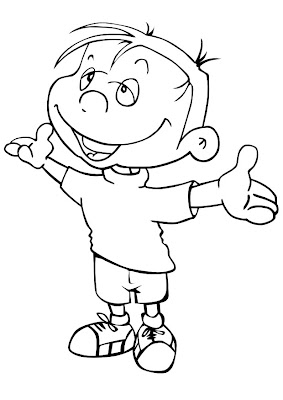 happy boy coloring page