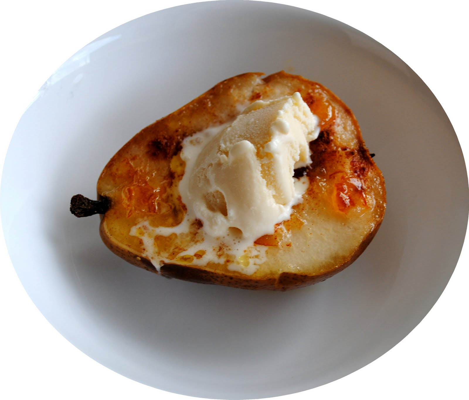 Baked Pears with Vanilla Ice Cream - Learning Patience