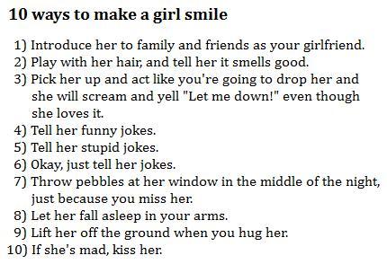 ways to make a girl smile