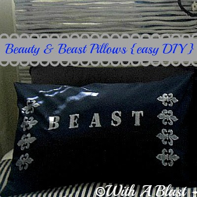 With A Blast: Beauty & Beast Pillows {easy DIY}    #diy #crafts #fabricpainting #painting #stencil