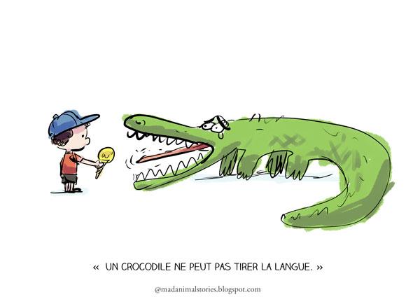 un crocodile ne peut pas tirer la langue