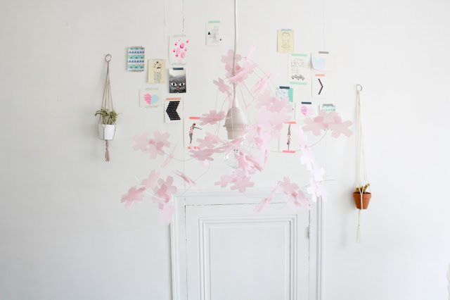 cherry blossoms suspension diy alittlepaper