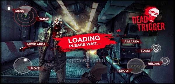Tela inicial de Dead Trigger para Android. Este é mais um conteúdo exclusivo do AjudaOps!